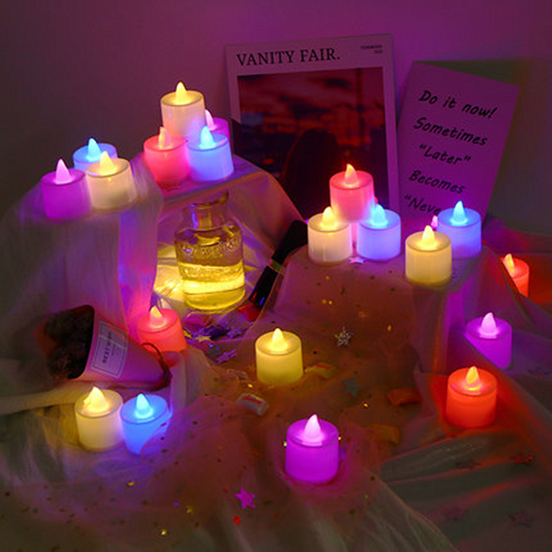Led Candle Lamp Battery Operated Electric Candles Colorful Holiday Light Christmas Tree Decoration For Home New Year Wedding