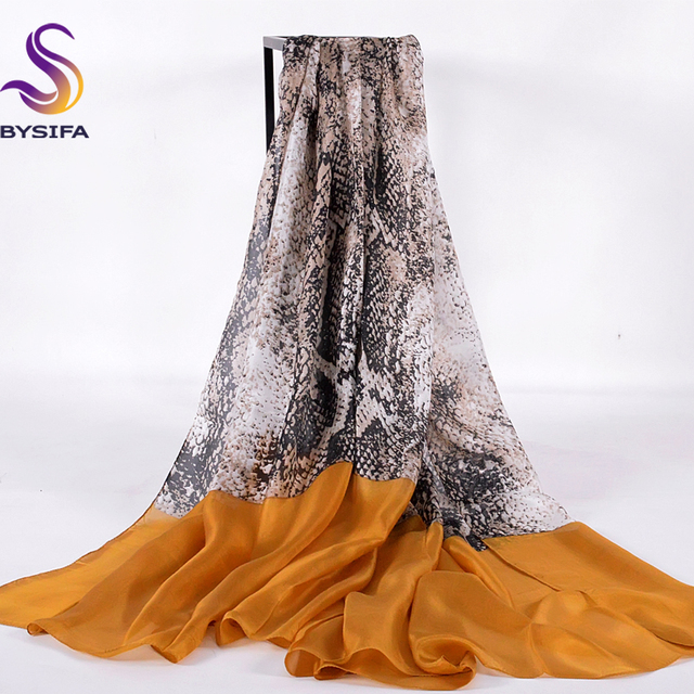 [BYSIFA] Snakeskin Long Scarves For Women 2016 New Design Winter Yellow Coffee Mulberry Silk Scarf Shawl 200*110cm Spring Autumn