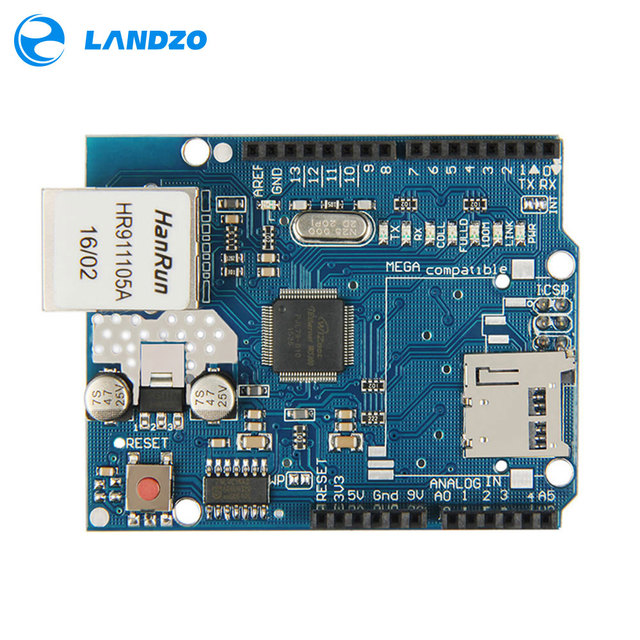 1 pcs Arduino Escudo Escudo Ethernet W5100 R3 UNO Mega 2560 1280 328 UNR R3 placa de Desenvolvimento W5100