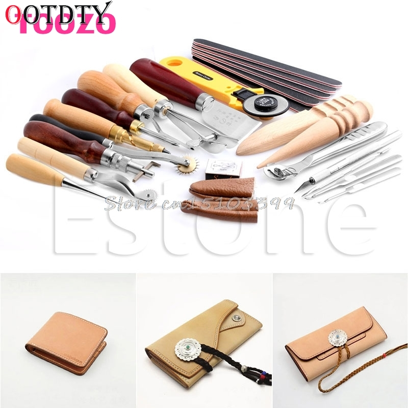 OOTDTY Leather Craft Punch Tools Kit Stitching Carving Working Sewing Saddle Groover Drop Ship