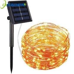 Solar LED Cordas Natal Luz 7M 12M 22M Lâmpada De Fio De Cobre À Prova D' Água Para Jardim Ao Ar Livre Decoração Do Natal luzes do partido
