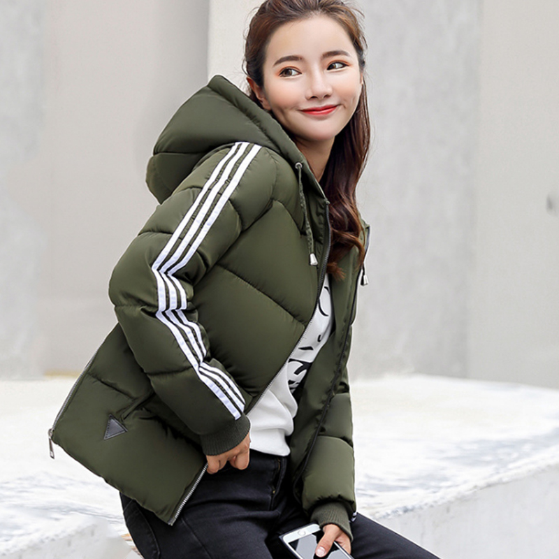 Green Thick Female Jackets Short Women s Cotton Coat Fashion Jacket Short Slim Winter Padded Hooded