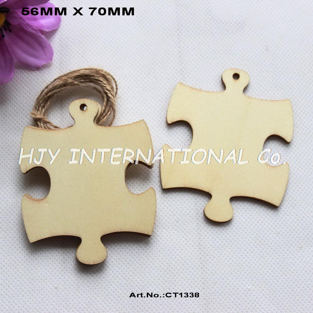 (14pcs/lot) 70mm Unfinished Blank Wooden Puzzle Party Wedding Save Date Ornaments 2.8 Inches -CT1338