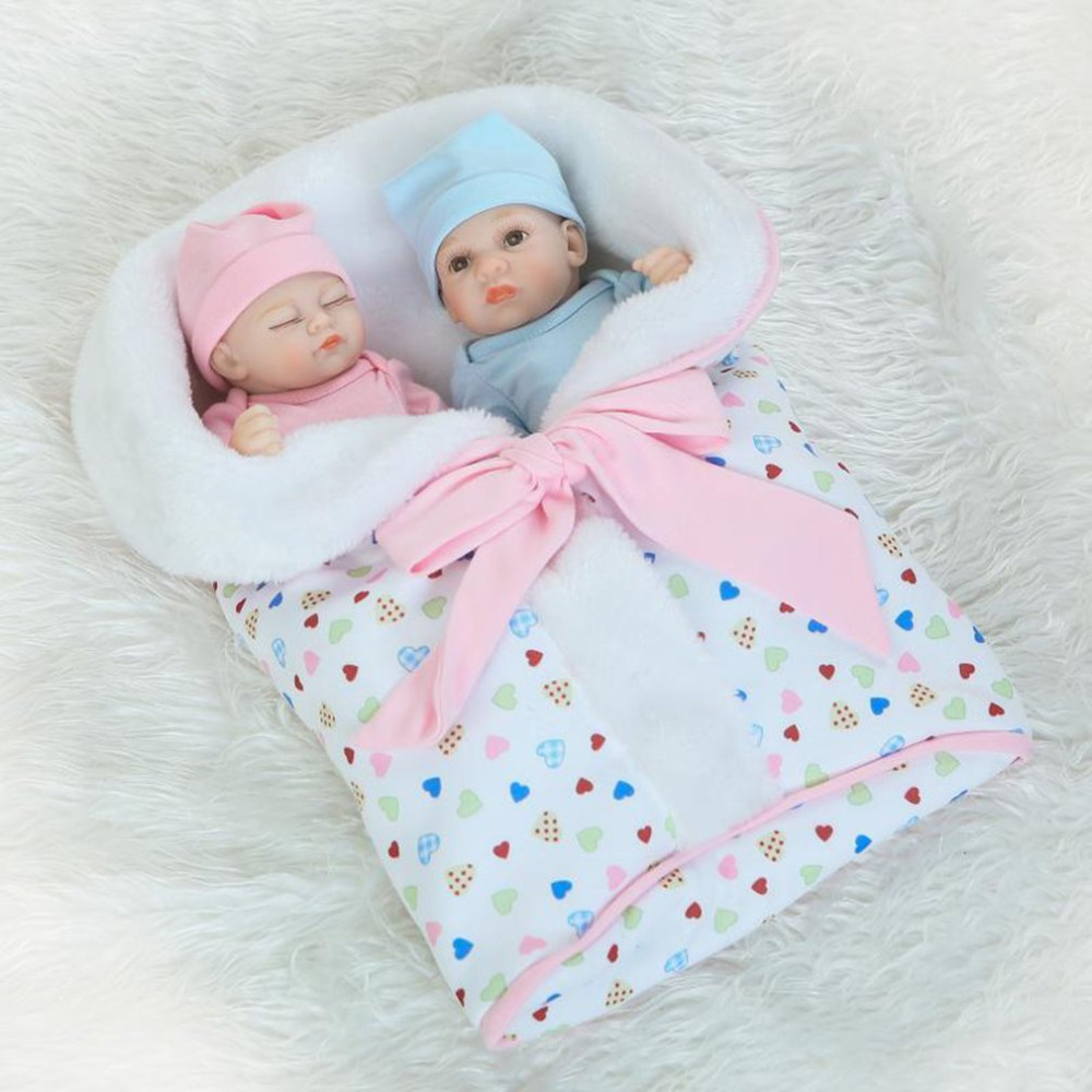 26cm 1 Pair Newborn Baby Doll Children Play Toys Lifelike Soft Silicone Vinyl Baby Doll Non-toxic Toys Handmade Baby Doll