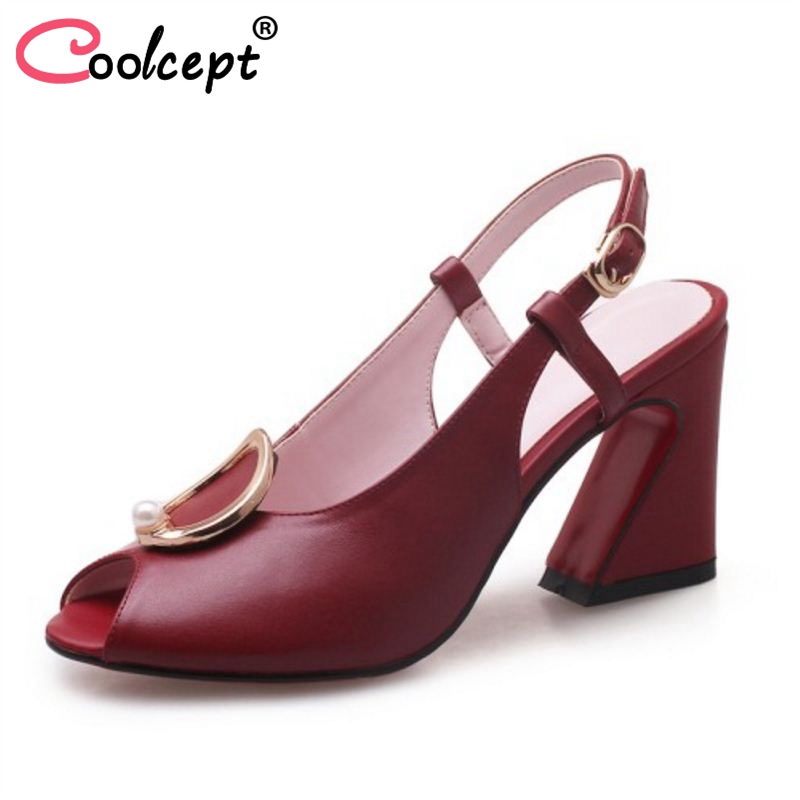 Coolcept Women High Heel Sandals Genuine Leather Peep Toe Buckle Strange Heels Metal Buckle Sandals Dress Footwear Size 34-39 taoffen women high heels sandals real leather peep toe shoes women buckle clear thick heel sandals daily footwear size 34 39