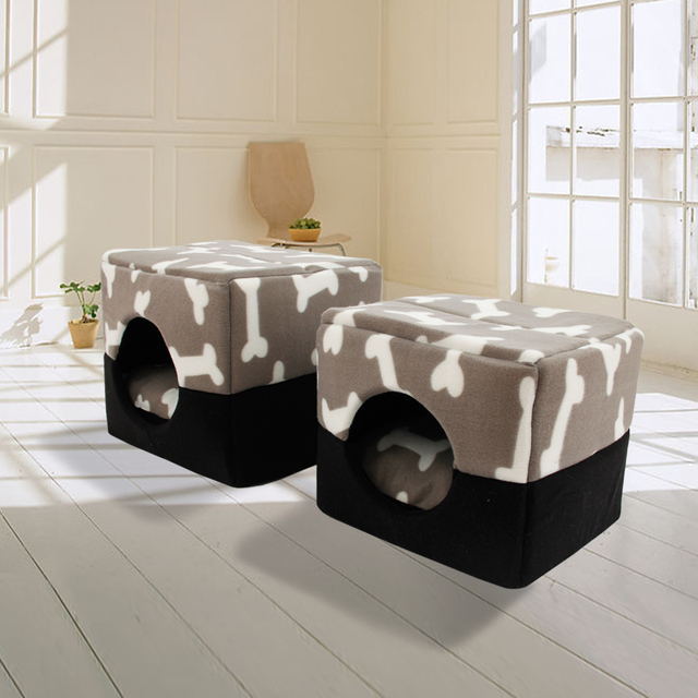 Multi-functional Three-Use Dog Bed Cotton Kennel Pet House Puppy House Pattern Bone Gray Color S/M Great Quality Cat Bed  1
