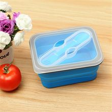 KCASA Collapsible Silicone Food Lunch Case Dinnerware BPA Free Foldable Bento Fruit Salad Storage Food Box Container Tableware(China)