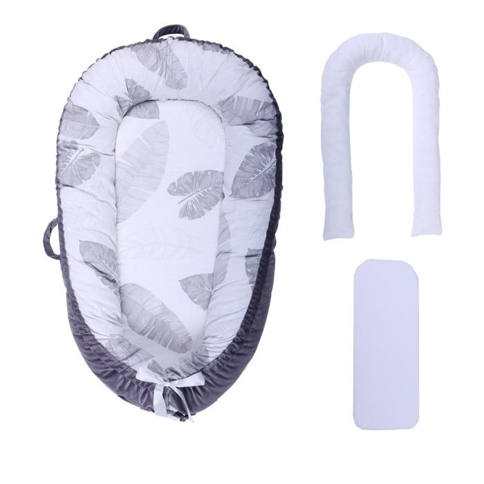 Разборные Детские гнезда кровать или малыша Размер гнезда, мята и совы, портативная кроватка, co спальное место babynest для новорожденных и малышей - Цвет: Gray leaf