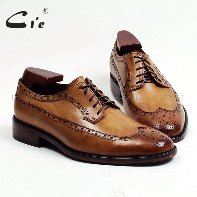 c74410cb085b cie Round Toe Full Brogues Bespoke Custom Handmade Genuine Calf Leather  Outsole Breathable Men s Derby Brown Lacing shoe D146
