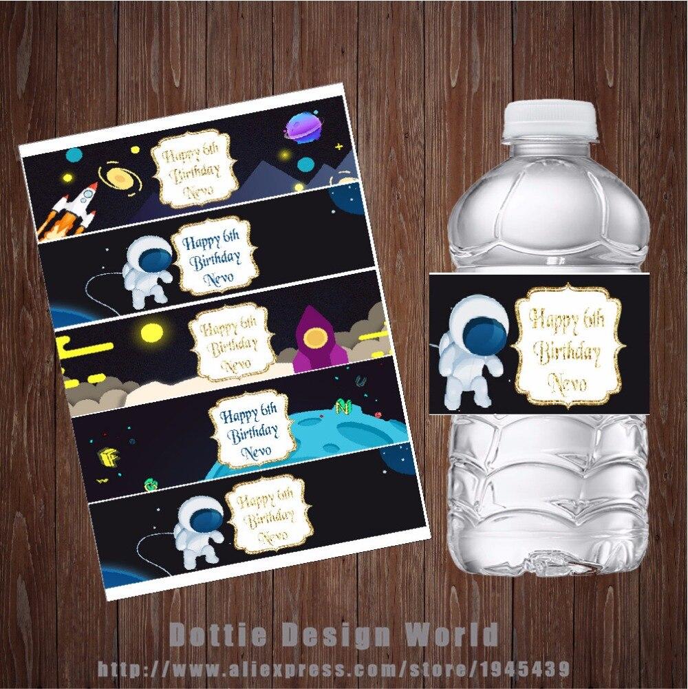 20 teile/los Äußere Raum Wasser Flasche Etiketten Candy Bar wrapper Rakete Schiff Baby dusche Geburtstag Party dekoration freies verschiffen