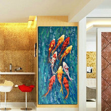 Wall Art Picture HD Print Chinese Abstract Nine Koi Fish Landscape Oil Painting on Canvas Poster For Living Room Modern Decor(China)