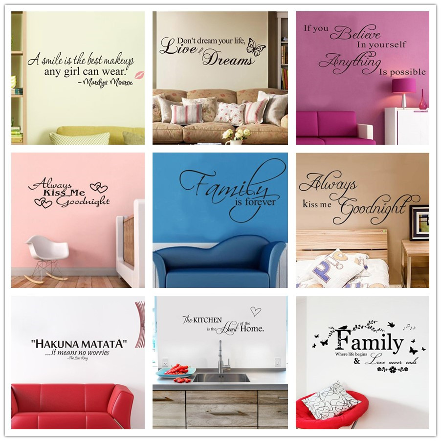 % Art Words Quote Wall Sticker Family Quotes Wall Decal Home Decoration Bedroom Living Room Removable Vinyl Butterfly Flowers