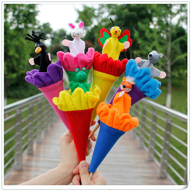 6Pcs Retractable Smiling Clown Toy Doll Funny Telescopic Hide & Seek Play Jingle Bell Stick Plush Doll Toy Gift Interactive Game