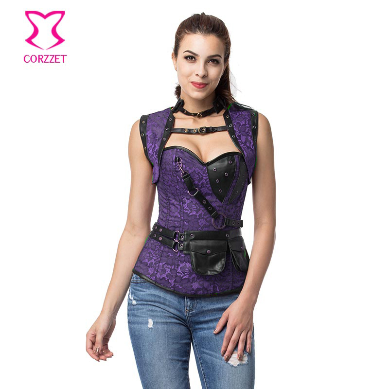 Floral Jacquard Steel Boned Overbust Women   Corsets   And   Bustiers   With Jacket Steampunk   Corset   Plus Size 6XL Gothic Clothing