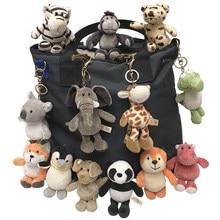 Porte-clés d'animaux en peluche, accessoires mignons de 15 cm, look de dessin animé, tortue, éléphant, tigre, lion, hippopotame, raton laveur, bouledogue, chat, pingouin, singe