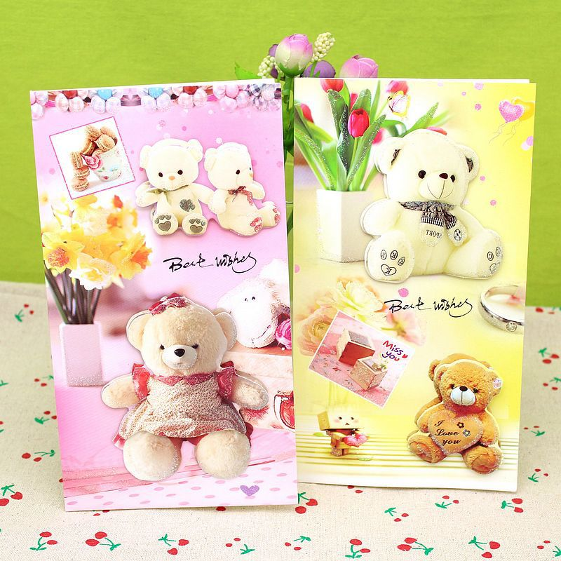 8 pieceslotkorean lovely three dimensional cartoon bear 8 pieceslotkorean lovely three dimensional cartoon bear greeting card girls birthday wish cards love baby gift cards m4hsunfo