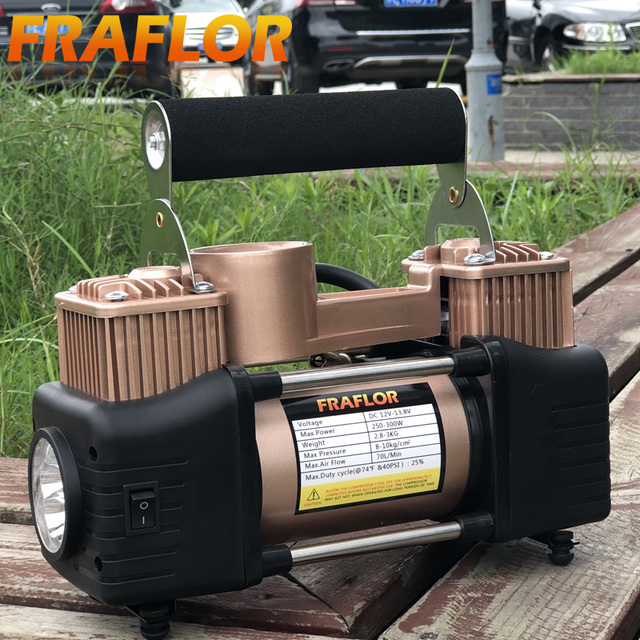 12V Air Compressor For Cars SUV Light Trucks High Pressure Air Pump Twin Cylinder Metal Inflatable  Auto Electric Tire Inflator