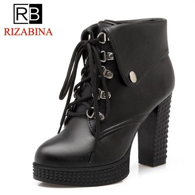 21cfd189c Tamanho 33-43 RizaBina Mulheres Botas De Salto Alto Plataforma Lace Up  Ankle Boots Calçados