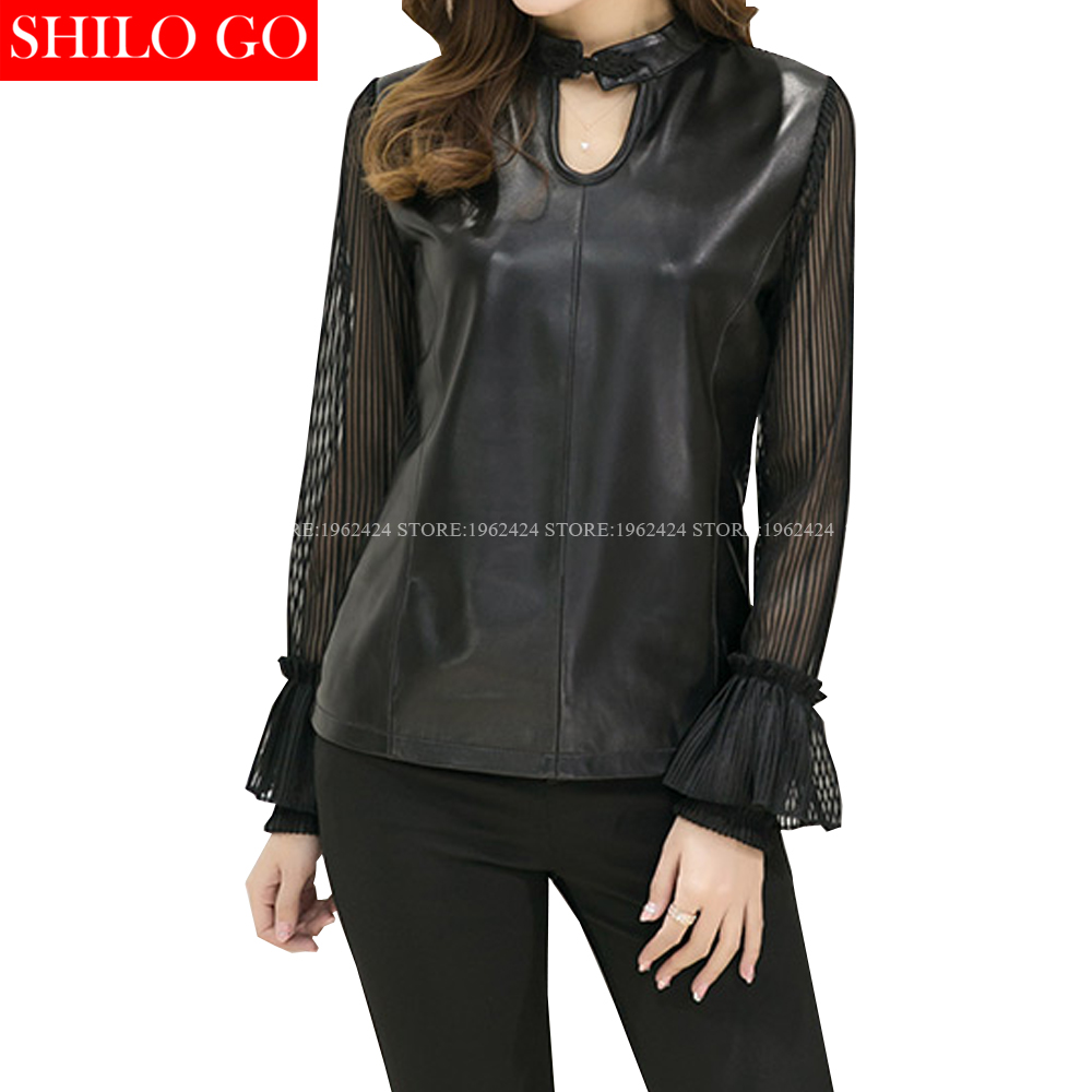 SHILO GO NEW Fashion Street Women Vintage V Neck Sexy Chiffon Flare Sleeve Sheepskin Genuine Leather Short Blouse Ladies Blouse