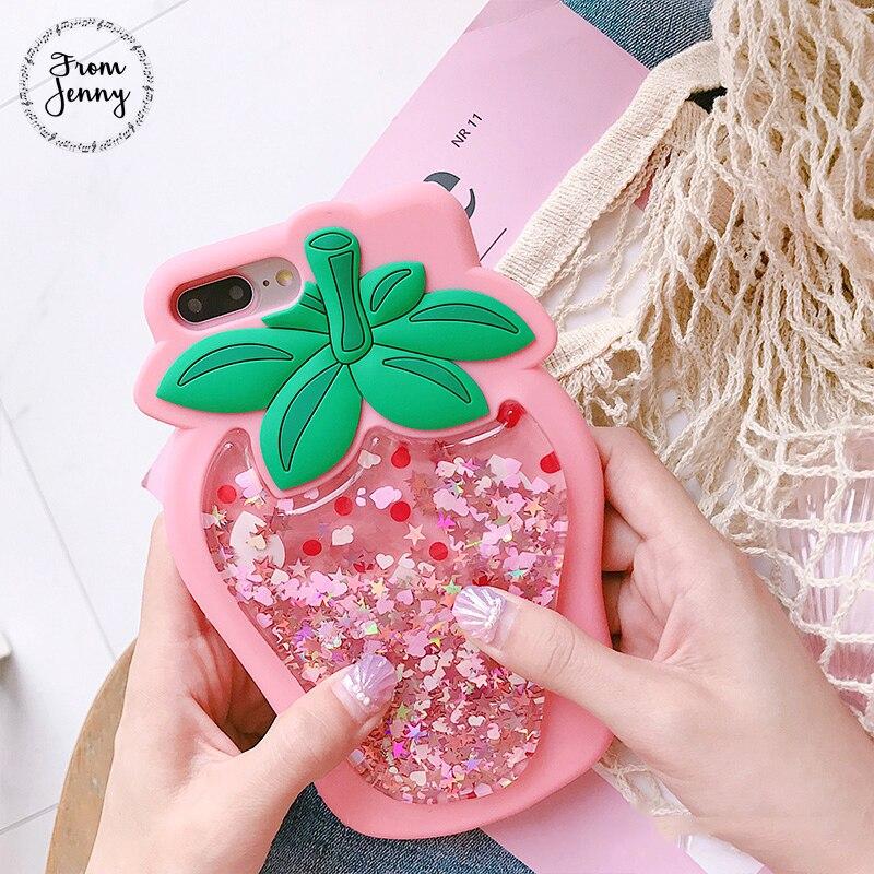 De Jenny Fraise Liquide Quicksand Transparent Glitter Cas pour Apple iPhone6s 6 7 8 7 plus 6 s + 6 splus Capas Couvre