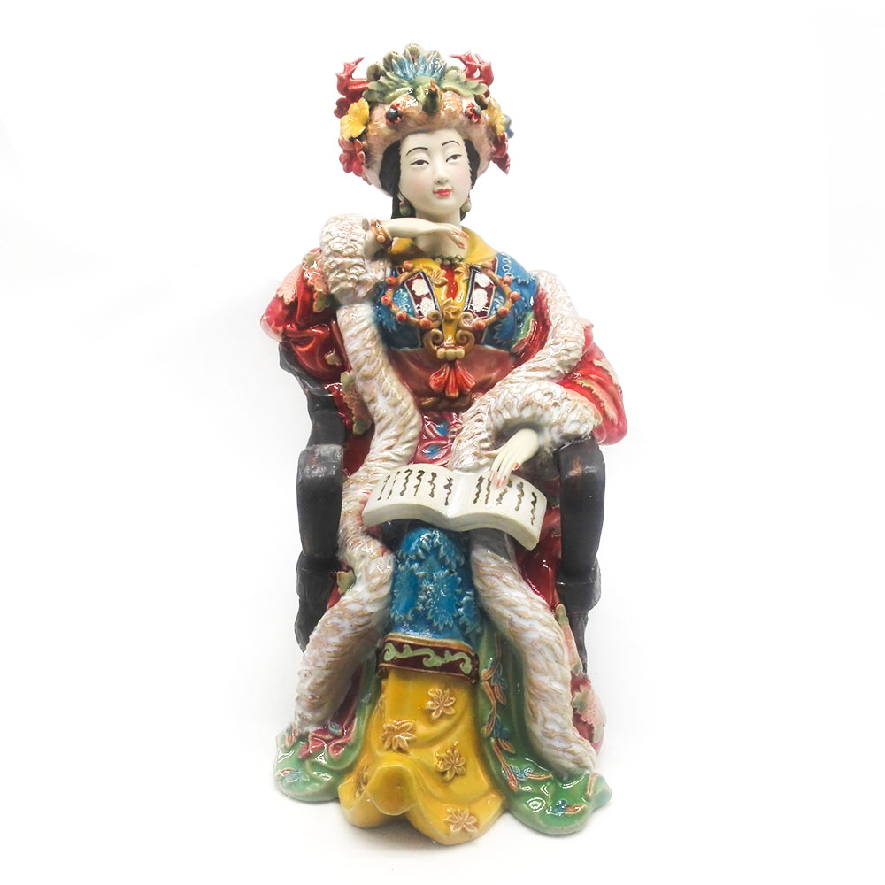 Female Ceramic Sculpture Arts China Antique Imitation Figure Statue Collectibles Decoration Figurine Best Gifts