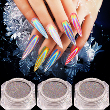 Laser 0.2g Rainbow Shinning Mirror Nail Glitter Powder Perfect Holographic Nails Dust Holo Pigment Silver Decorati
