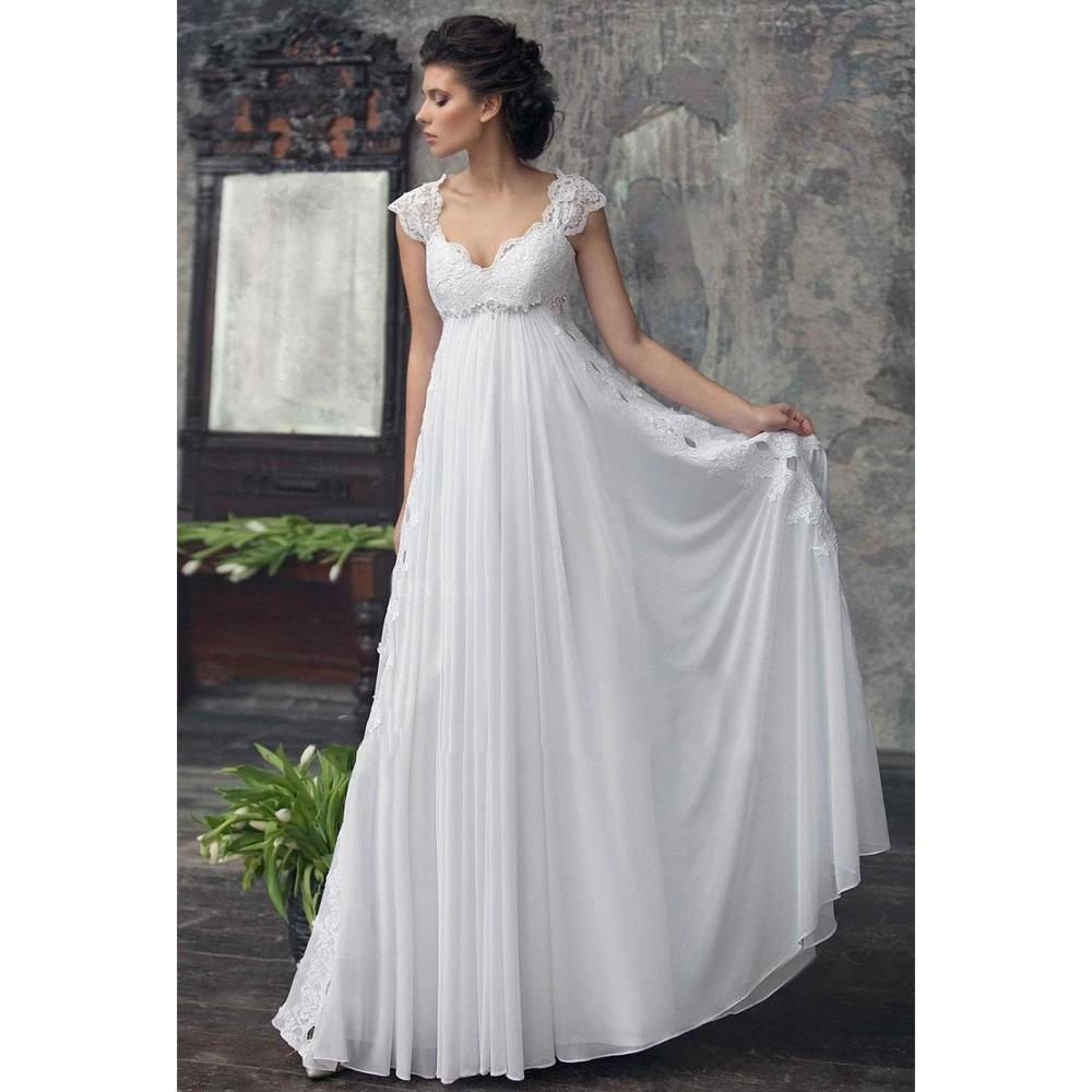 Vestido De Noiva Chiffon Wedding Dress High Waist Maternity Wedding Gowns For Pregnant Women Custom Made Empire Bride Dresses