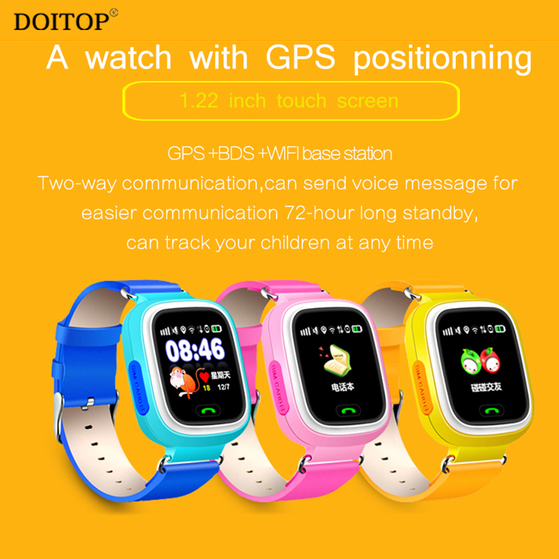 Doitop GPS WI-FI телефон позиционирования Дети дети Безопасный анти потерял Мониторы Смарт-часы SOS вызова расположение трекер Сенсорный экран час…