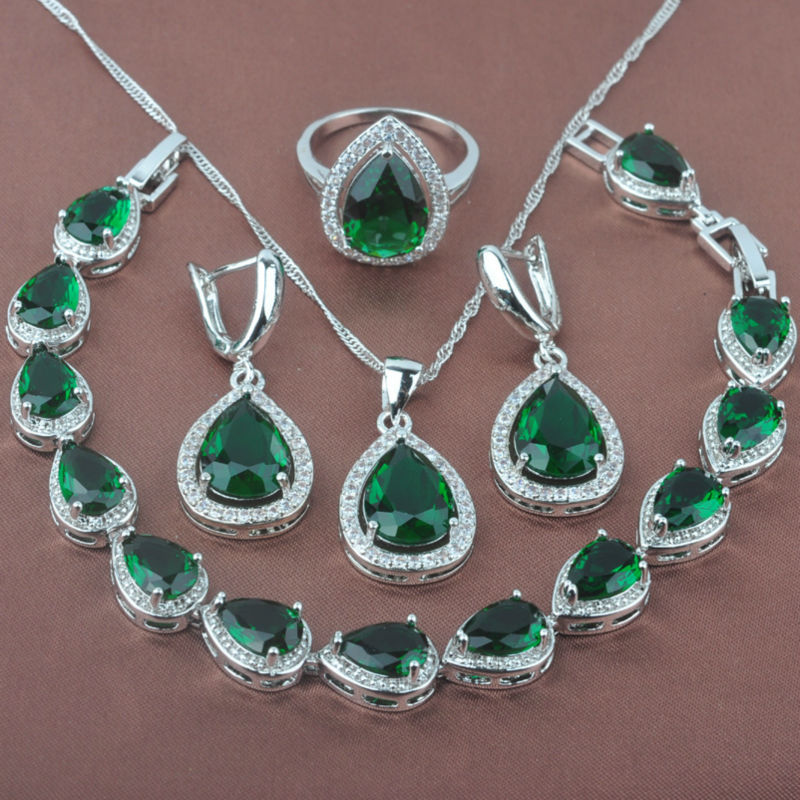 Women s Green Stone Zircon 925 Sterling Silver Jewelry Sets font b Necklace b font Pendant