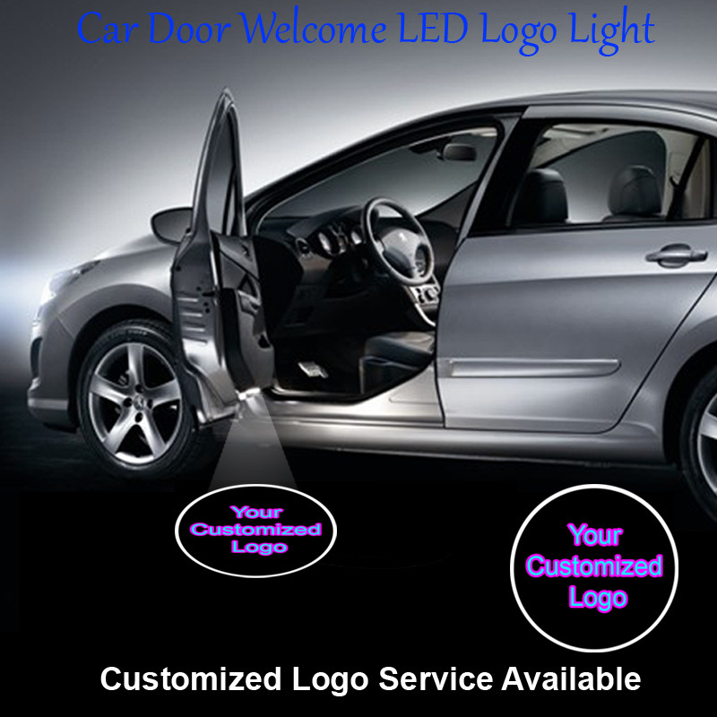 2 x Customized Logo Car Door Welcome Step Courtesy Laser Projector Ghost Shadow Puddle LED Light Wired #CCUS02