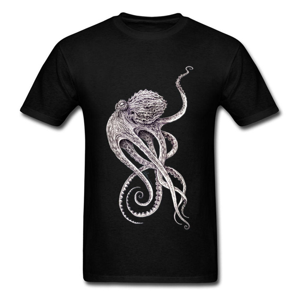 Retro Black T-shirt Men Elegant Octopus Print T Shirt Steampunk Tops Tees Personalized Short Sleeve TShirt Father Day Gift Cloth