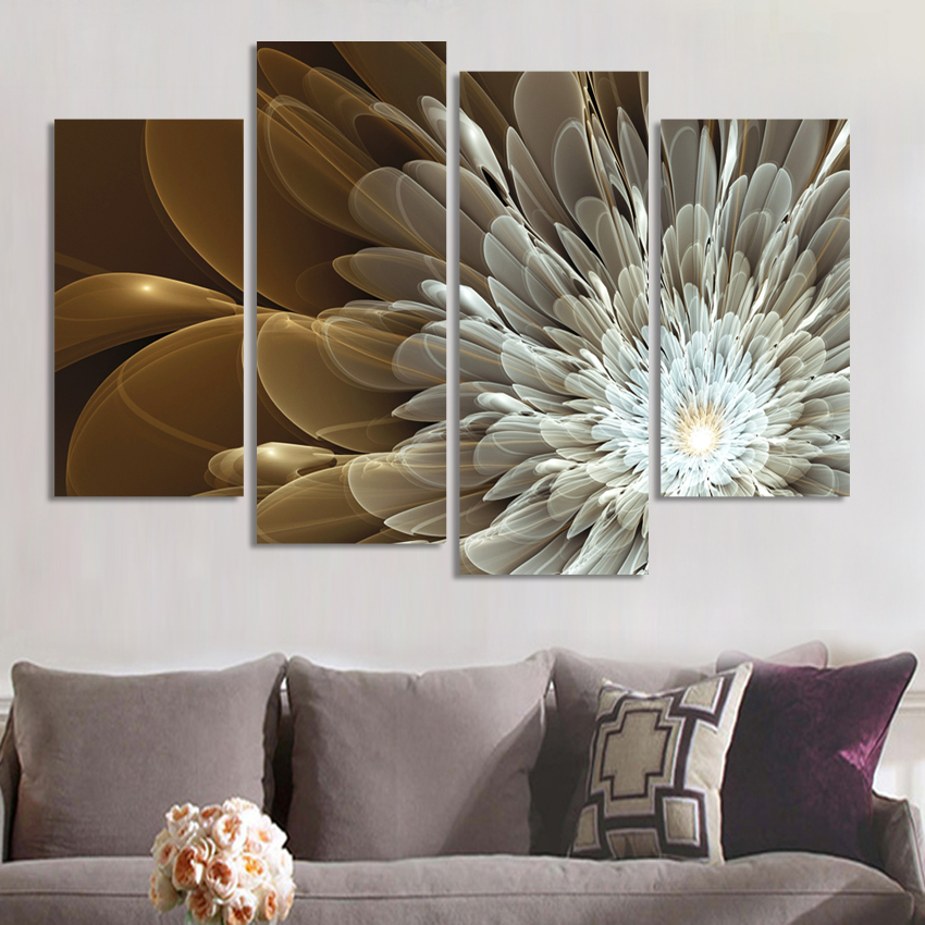 4Panels Rikedom och lyxiga blommor Canvas Wall Painting Art Picture Heminredning på Canvas Modern Wall Painting