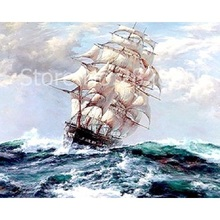 Buy Sailboat On The Sea Painting By Numbers Hand Pai online