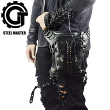 Steam Punk Waist Packs Retro Rock Men Messenger Bag Small Motorcycle Bag Leather Mobile Phone Leg