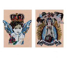 1pc Large Sequined Patches Crown Mary Angel Wings Goddess Sew on T-shirt Garment Motif Appliques Accessories TH1078-5