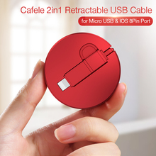 Portable 2 in 1 Retractable Micro USB + IOS Cable