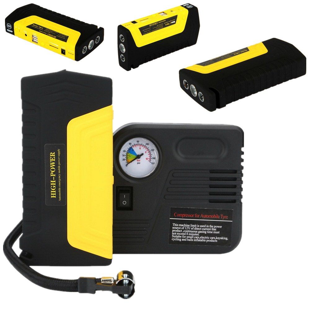 High Capacity Car booster jumper Jump Starter 4 USB Power Bank Emergency Charger for Petrol & Diesel Car with pump high capacity car jump starter mini portable emergency battery charger for petrol