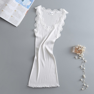 Image 2 - Cotton+ Nature Silk Ladies Fashion Lace Stitching Vest Slim Sexy Elegant Camisoles High Elastic Bottoming Female Tanks