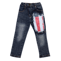 1 6Years Children Boys Jeans Long Denim Pant Fashion Apring Autumn Clothes Flag Printed Slim Casual