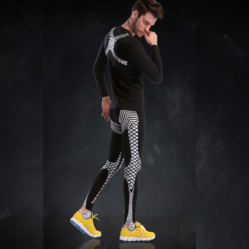 Strakke Gym Pak Mannen Lange Mouwen Compressie Fitness Set 2019 New Classic Patroon Cool Sportkleding Polyester Run Sport Panty Sets