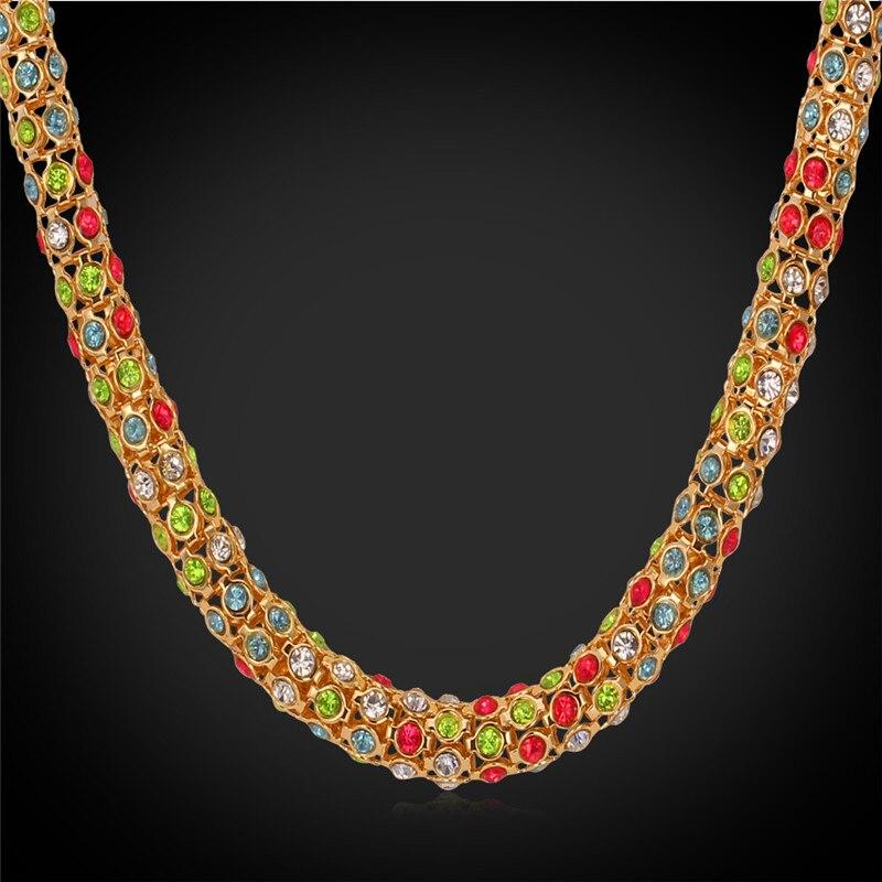 9249b06694d3 ⑦Kpop Collares para las mujeres de lujo colorido Cristal de alta ...