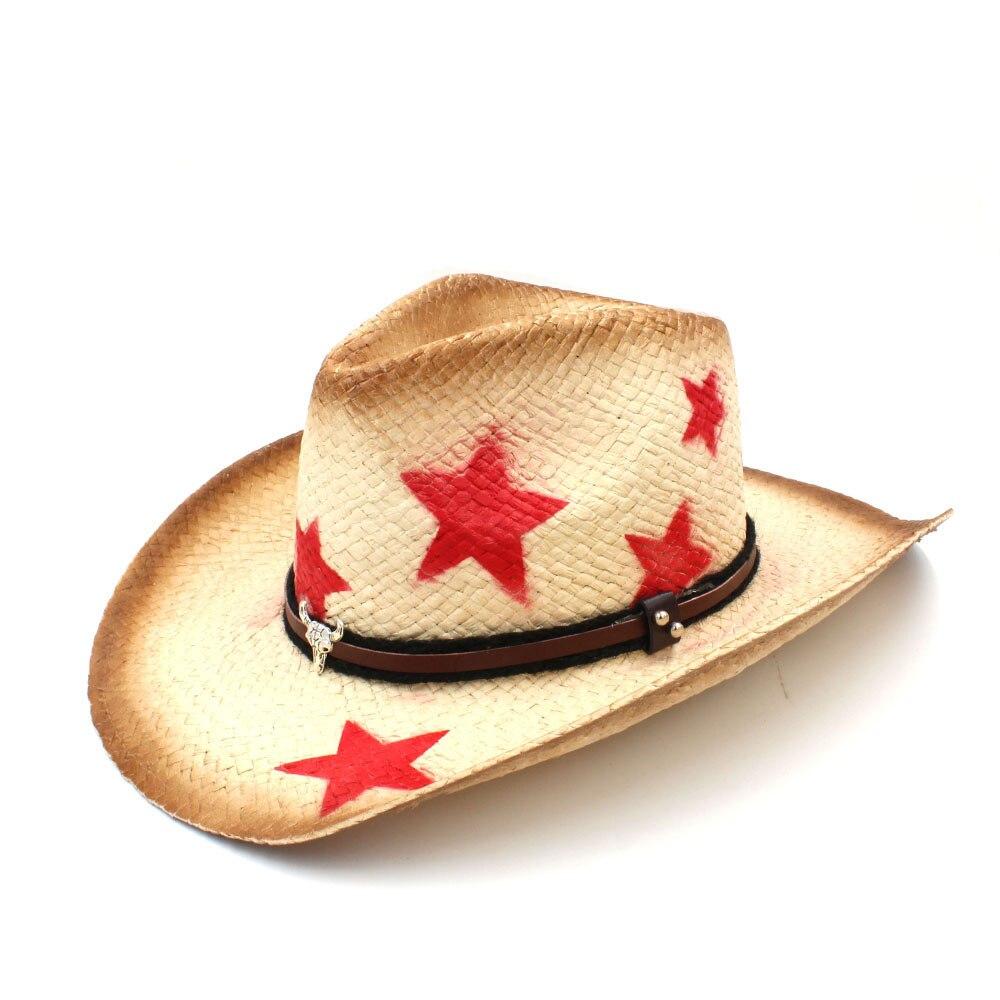 2019 Frauen Männer Stroh Sun Hut Mit Bull Kopf Band Stern Dame Dad Handgemachte Webart Sombrero Hombre Cowboy Jazz Caps Größe 58 Cm Knitterfestigkeit Bekleidung Zubehör