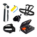 Gopro Accessories SJCAM Sj4000 Kit Head Mount Strap+Chest Strap+Wrist Belt+Monopod+Floating Bobber Big Box Hero 4/3/2/1/3