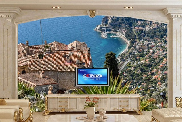 Custom 3d Wall Murals ,Houses Coast Marinas Cities Wallpaper,restaurant Dining  Room Tv Sofa