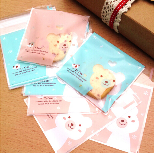 100pcs/lot 10*10 cm small gift cute self adhesive plastic cello bags cookies bags wedding cake bags bonbons for shops