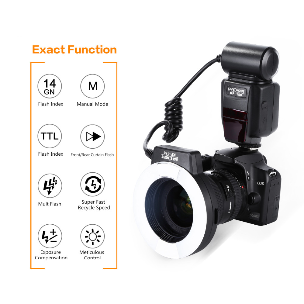 US $151 65 |K&F CONCEPT 150 C Macro Ring Light TTL Auto Manual Flash GN14  LCD Display for Canon DSLR Camera + 6pcs Adapter Ring +Mini Stand-in  Flashes