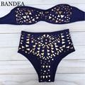 2016 sexy Push Up swimwear golden Print bikini brazilian swimsuit High Waist bathing suit Women swimsuit maillot de bain