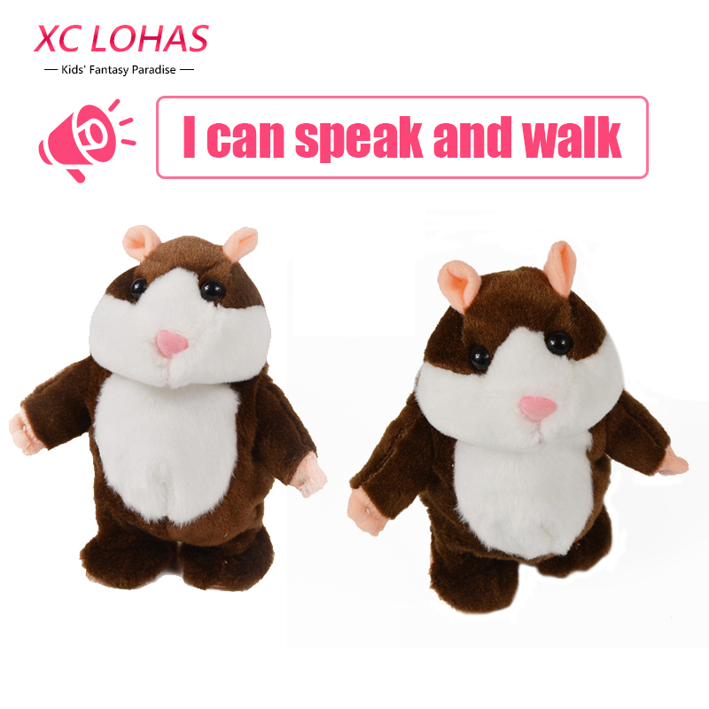 18cm Talking Hamster Electronic Walking Plush Doll Pet Interactive Speaking Record Stuffed Toys  Birthday Gifts For Children