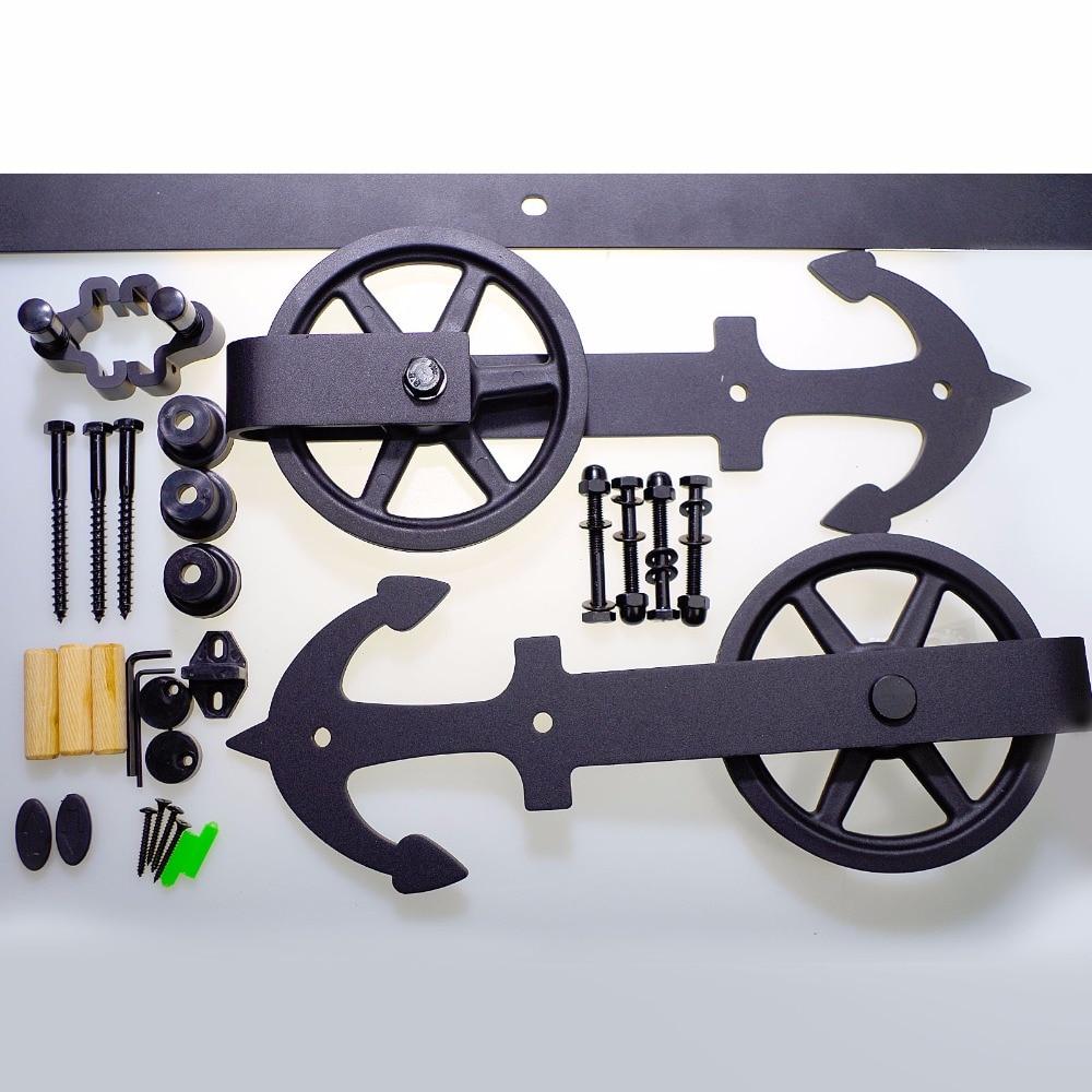 LWZH Closing Antique Style Steel Sliding Barn Door Hanger Track Hardware Kit Black Anchor Shaped with Big Roller for Single Door