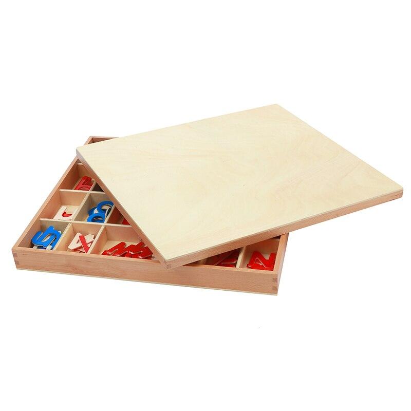 Bébé Jouet Montessori Bois Petit Alphabet Mobile Rouge et Bleu avec la Boîte Préscolaire Précoce Enfant Brinquedos Juguetes - 2